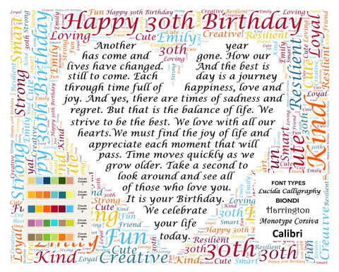 Custom 30th Birthday Gift 30th Birthday Poem Word Cloud Art 8 X 10 Unique Thirty Birthday Gifts DIGITAL DOWNLOAD JPG