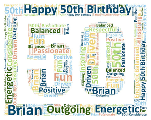 Personalized 50th Birthday Gift Word Art