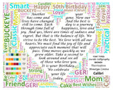 Custom 50th Birthday Gift 50th Birthday Word Art 8 X 10 Print Unique 50th Birthday Gift Ideas