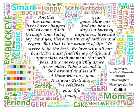 50th Birthday Gifts. 50th Birthday Wordart 8 X 10 Print. Unique 50th Birthday Gift Ideas