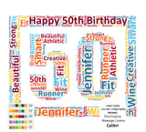 50th Birthday Gift. 50th Word Cloud Art 8 X 10 Print. 50th Birthday Gift Unique Birthday Gifts
