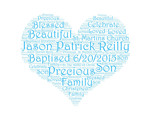 Personalized Baptism Gift Baptism Heart Word Art 8 X 10 Baptism Gift Christening Gift Christening Baptism Word Art Baby Boy Baptism Gifts