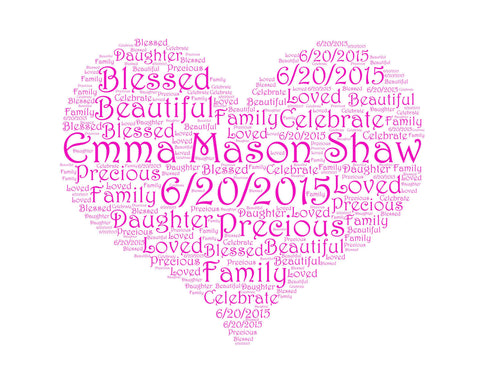 Personalized Baby Shower Gift Baby Shower Heart Word Art 8 X 10 Baby Shower Gift New Baby Ideas Baby Girl Baby Shower DIGITAL Download JPG