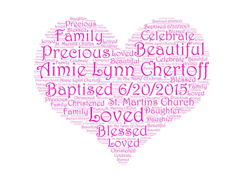 Personalized Baptism Gift Baptism Heart Word Art 8 X 10 Baptism Gift Christening Gift Christening Baptism Word Art Baby Girl Baptism Gifts