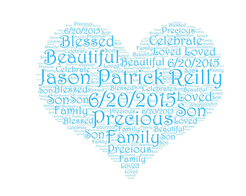 Personalized Baby Shower Gift Baby Shower Heart Word Art 8 X 10 Baby Shower Gift  New Baby Gift Ideas Baby Boy Word Art DIGITAL Download JPG