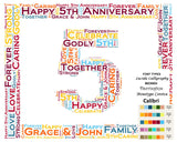 Personalized 5th Anniversary 5th Anniversary Gift 8 X 10 Print Word Art Fifth Anniversary Gift Ideas Anniversary Gift for Her Gift for Him