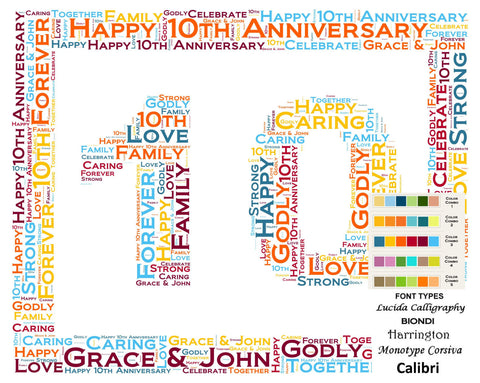 Personalized 10th Anniversary 10th Anniversary Gift 8 X 10 Print Word Art Tenth Anniversary Gift Ideas Anniversary Gift for Her Gift for Him