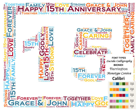 Personalized 15th Anniversary 15th Anniversary Gift 8 X 10 Print Word Art 15th Anniversary Gift Ideas Anniversary Gift for Her Gift for Him