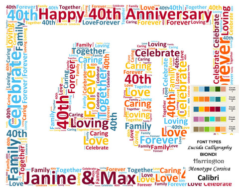 Personalized 40th Anniversary 40th Anniversary Gift 8 X 10 Print Word Art 40th Anniversary Gift Ideas Anniversary Gift for Her Gift for Him