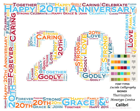 Personalized 20th Anniversary 20th Anniversary Gift 8 X 10 Print Word Art 20th Anniversary Gift Ideas Anniversary Gift for Her Gift for Him