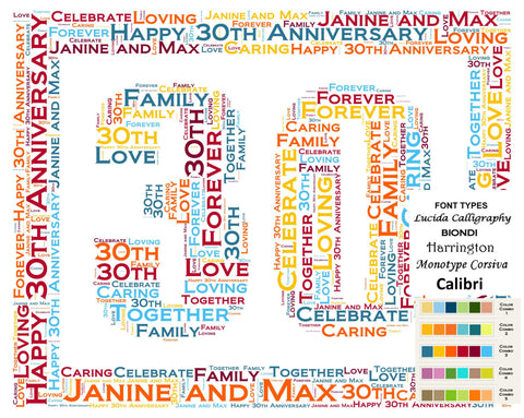 Personalized 30th Anniversary 30th Anniversary Gift 8 X 10 Print Word Art 30th Anniversary Gift Ideas Anniversary Gift for Her Gift for Him