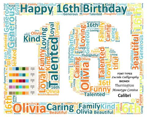 Personalized Sweet Sixteen 16th Birthday Gift 16th Birthday Word Art 8 X 10 Print Unique 16th Birthday Gift Ideas