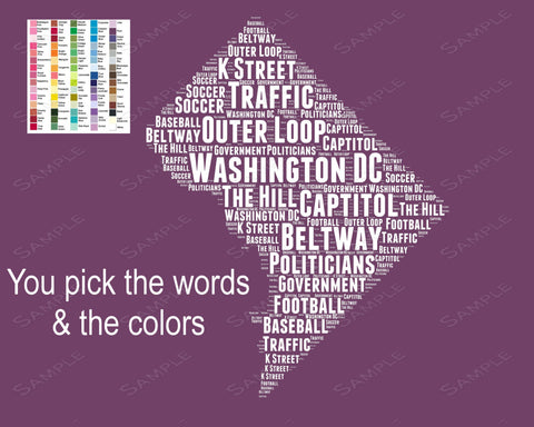 Washington DC Map. Word Art 8 x 10 Print Washington DC Map Word Art Gift Print - Washington DC Souvenir Pick Your Colors/Words