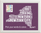 Personalized New York State Map Word Art 8 x 10 Print New York State Map Word Art Gift Print - New York Souvenirs Pick Your Colors And Words
