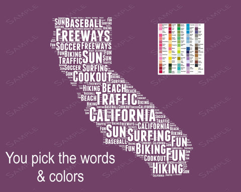 Personalized California State Map Word Art 8 x 10 Print California State Map Word Art Gift Print California Souvenirs Pick Your Colors/Words