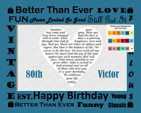 80 Birthday Poem Heart 8 X 10 Print Eighty Year Old Birthday Gift Ideas