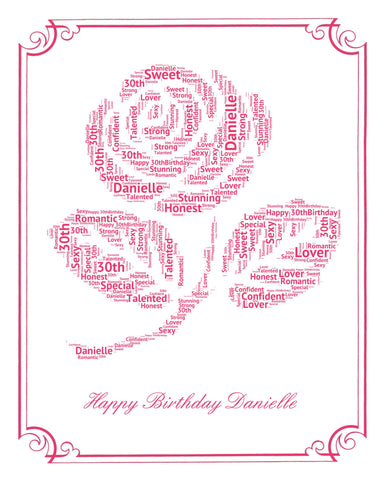 30th Birthday Gift. 30th Birthday Rose Word Art - 8 x 10 Print. Thirty Birthday Gift Ideas