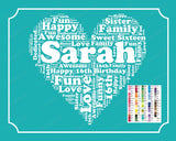 Personalized 16th Birthday Gift 16th Birthday Word Art 16th Birthday 8 x 10 Sweet Sixteen Birthday Birthday Gift Ideas DIGITAL DOWNLOAD JPG
