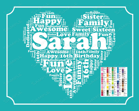 Personalized 16th Birthday Gift 16th Birthday Word Art 16th Birthday 8 x 10 Print Sweet Sixteen Birthday  Birthday Gift Ideas