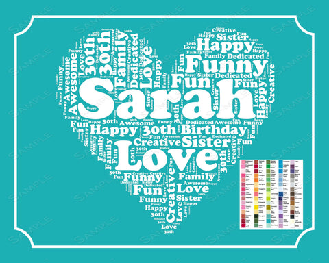 Personalized 30th Birthday Gift 30th Birthday Word Art Gift Birthday 30th Birthday 8 x 10 Thirty Birthday Gift Ideas DIGITAL DOWNLOAD .JPG