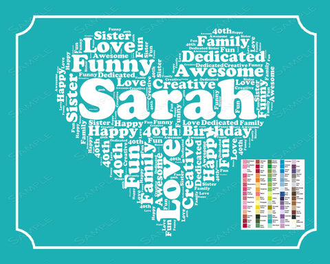 Personalized 40th Birthday Gifts 40th Birthday Word Art 40th Birthday Gift 8 x 10 Print Forty Birthday Gift Ideas DIGITAL DOWNLOAD .JPG