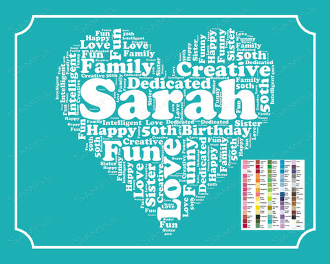 Personalized 50th Birthday Gifts 50th Birthday Gift Word Art 8 x 10 Print Fifty Birthday Gift Ideas