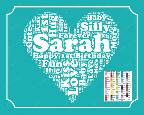 1st Birthday Word Art Birthday Print - 1st Birthday Gift Personalized 8 x 10 First Birthday Nursery Decor Birthday Gift Digital Download JPG -DesignbyWord.Com