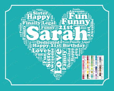 Personalized 21st Birthday Gift Word Art 8