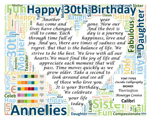 Custom 30th Birthday Gift Poem 30th Birthday Word Cloud Art 8 X 10 Print Unique Thirty Birthday Gifts -DesignbyWord.Com