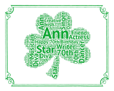 Irish Birthday Gifts. Irish Birthday Word Art Clover- 8 x 10 Print. 16th, 30th, 50th, 60th, 70th, 80th, 90th, 100th