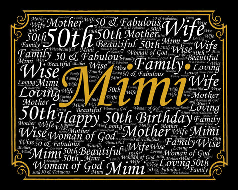 Personalized 50th Birthday Gift 50th Birthday Word Art 8 X 10 Print - Fifty Birthday DIGITAL DOWNLOAD .JPG