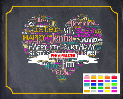 8th Birthday Gifts. Eighth Birthday Gift Ideas. 8 Year Old Chalkboard Wordart Digital Download .JPG