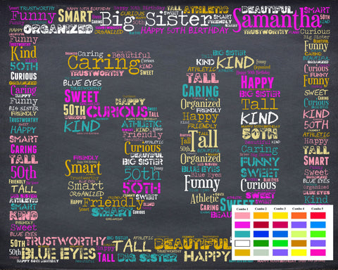 50th Birthday Gift 50 Gift Birthday Gift Fifty Birthday Gift Ideas 50 Birthday Chalkboard Word Art Poster DIGITAL DOWNLOAD .JPG -DesignbyWord.Com