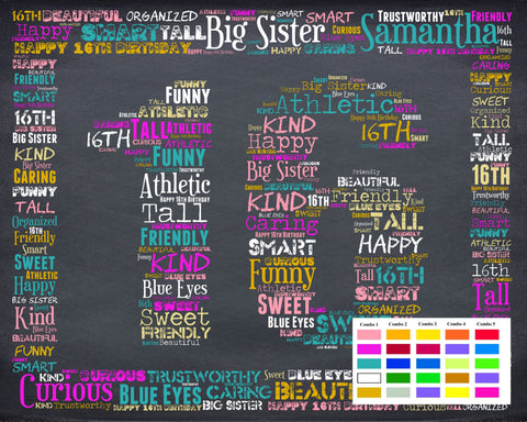 16th Birthday Gift 16th Birthday Gift Personalized Sweet Sixteen Birthday Gifts 16 Birthday Chalkboard Word Art Poster DIGITAL DOWNLOAD .JPG -DesignbyWord.Com