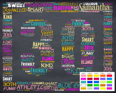 Personalized 30th Birthday Gift Thirty Ideas 30 Chalkboard Word Art