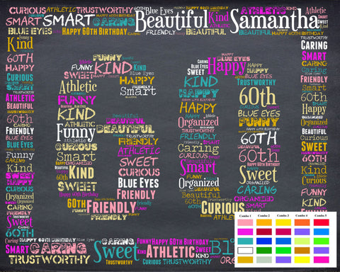Personalized 60th Birthday Gift 60th Birthday Gift Sixty Birthday Gift Ideas 60 Birthday Chalkboard Word Art Poster DIGITAL DOWNLOAD .JPG - Personalized Gifts