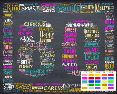 Personalized 80th Birthday Gift 80th Birthday Gift Eighty Birthday Gift Ideas 80 Birthday Chalkboard Word Art Poster DIGITAL DOWNLOAD .JPG
