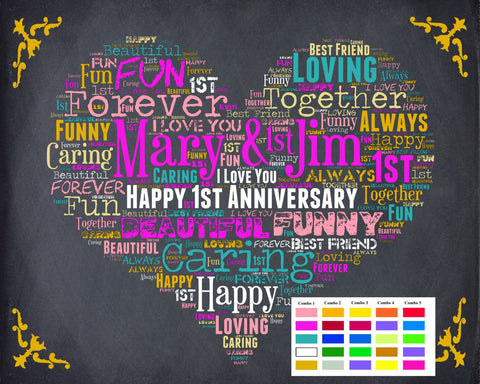 Personalized 1st Anniversary Gift 1st Anniversary Chalkboard First Anniversary Poster One Year Anniversary DIGITAL DOWNLOAD .JPG
