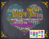 Personalized 5th Anniversary Gift 5th Anniversary Chalkboard Fifth Anniversary Poster Five Year Wedding Anniversary DIGITAL DOWNLOAD .JPG