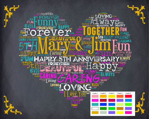 5th Anniversary Gifts. Fifth Anniversary, Five Year Wedding Anniversary Digital Download Jpg