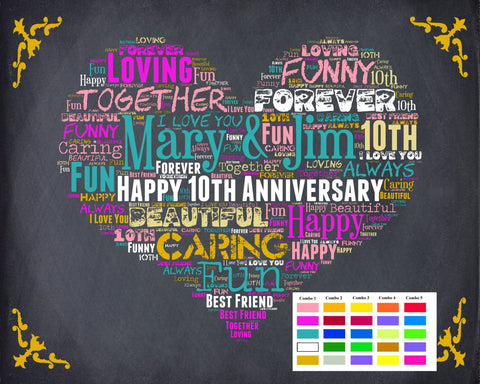 Personalized 10th Anniversary Gift 10th Anniversary Chalkboard Tenth Anniversary Poster Ten Year Wedding Anniversary DIGITAL DOWNLOAD .JPG