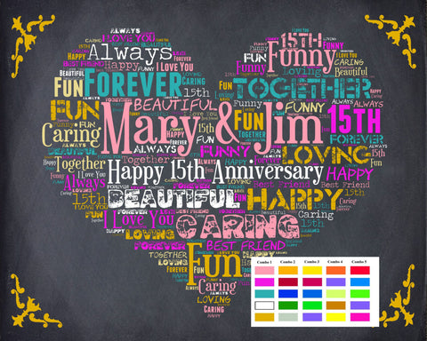 Personalized 15th Anniversary Gift 15th Anniversary Chalkboard 15th Anniversary Poster 15 Year Wedding Anniversary DIGITAL DOWNLOAD .JPG