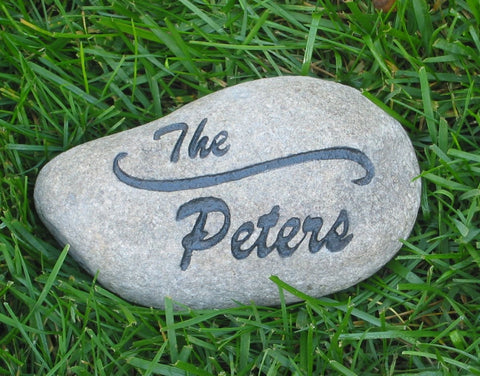 Engraved Stone Address Marker Garden Stone 7-8 Inch Custom Stone Address Marker