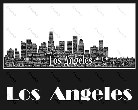 Los Angeles Skyline, Los Angeles Souvenir, Los Angeles California 8 x 10 Print