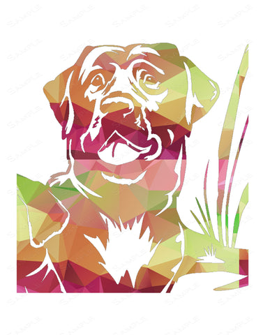 Dog Wall Print. Geometric Labrador Dog Home Decor Wall Art 8 x 10 Print