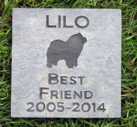 PERSONALIZED Pet Memorial Stone Chow Chow 6 x 6 Inch Memorial Cemetery Burial Stone Grave Marker & other Dog Breeds - Pet Memorial Stones, Personalized Pet Stone Memorial Grave Marker, Dog Memorial, Cat Memorials, Pet Gravestone Markers, Headstone