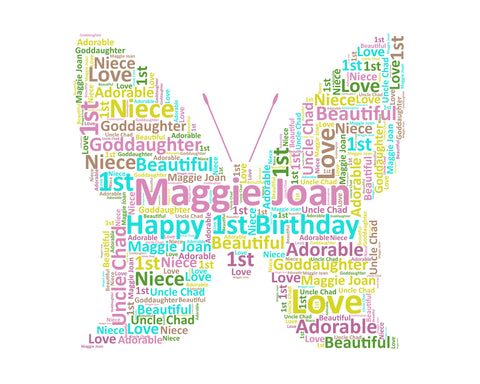 1st, 1st Birthday, 1st Birthday Gift, Butterfly Wordart, Birthday Girl Gift, 1 Year Old Birthday Gift, 8 X 10 Print