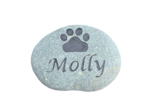 Pet Memorial Stone Garden Memorial Stone Engraved Stone Memorial for Dog or Cat  Paw Print 3-4 Inches Wide