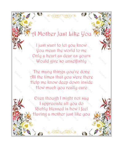 Mother Poem Love Poem 8 X 10 Print. Mother's Day Gifts