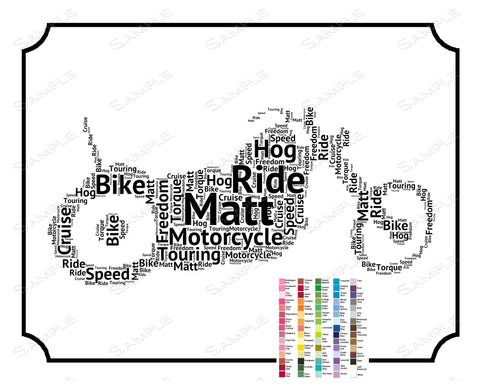 Personalized Motorcyle Gift - Motorcycle Gift Word Art Motorcycle Wall Art Motorcycle Rider Gift Ideas 8 x 10 Print Motorcycle Lover Gifts